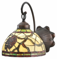 Meyda Tiffany 106289 Burgundy Pinecone 10 Inch Tall Tiffany Glass Mahogany Bronze Wall Lighting