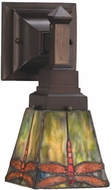 Meyda Tiffany 48187 Prairie Dragonfly Tiffany 1 Light Sconce Lighting Fixture