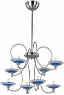 ET2 E22101-27 Serenity 8 Light Contemporary Blue Murano Pendant Chandelier