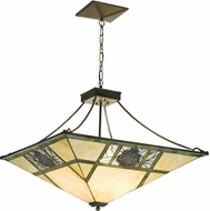 Meyda Tiffany 18879 Pinecones Rustic 26 inchsq. Inverted Pyramid 2-in-1 Convertible Semi-Flush/Pendant Mount Ceiling Light