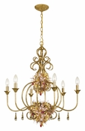 Crystorama 406-GA Fiore Rustic 6 Candle Antique Gold Finish 26 Inch Diameter Chandelier Light