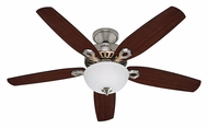 Hunter 53090 Builder Deluxe Cased White Glass Brushed Nickel 52 Inch Span Ceiling Fan Light