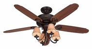 Hunter 22710 Cortland Traditional 4 Lamp New Bronze Ceiling Fan Lighting Fixture