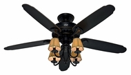 Hunter 22720 Cortland Basque Black Finish 54 Inch Span 4 Lamp Home Ceiling Fan Light