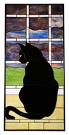 Meyda Tiffany 110369 Cat In Window 42 Inch Tall Stained Glass Window Wall D�cor