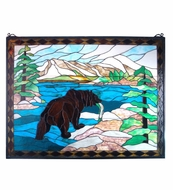 Meyda Tiffany 11094 Grizzly Bear 44 Inch Tall Stained Glass Window Wall D�cor