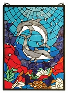 Meyda Tiffany 28740 Dolphin Dance 22 Inch Tall Stained Glass Window Wall D�cor