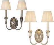 Hudson Valley 6112 Huntington 2 Light Wall Sconce with Fabric Shades