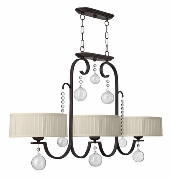 Fredrick Ramond 49437RCO Prosecco 3-light Renaissance Copper Kitchen Island Light with Glass Ornaments