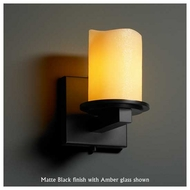 Justice Design 8771-14 Dakota 1-Light Wall Sconce with Melted Rim Glass