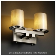 Justice Design 8772-10 Dakota 2-Light Straight-Bar Vanity Light with Flat Rim Glass