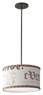 Feiss F2754/1ORB Jacqueline 18 Inch Diameter Oil Rubbed Bronze Finish Drum Pendant Light With Burlap Trim