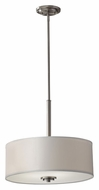 Feiss F2771/3BS Kincaid Brushed Steel Finish Pendant Drum Light - 18 Inch Diameter