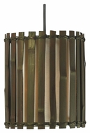 Kenroy Home 92037BRZ Grove Tropical 8 Inch Diameter Mini Pendant Hanging Light - Dark Split Bamboo
