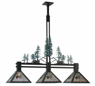 Meyda Tiffany 108987 Winter Pine 3 Lamp Rustic Kitchen Island Lighting Fixture