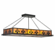 Meyda Tiffany 109377 Gothic Fleur-De-Lis Amber Mica 48 Inch Wide 6 Lamp Island Lighting