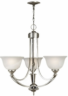 Quoizel DY3034ES Delray Empire Silver 3 Light Chandelier with Faux Etched Alabaster Glass