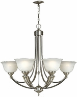 Quoizel DY5072ES Delray Empire Silver 6 Light Chandelier with Faux Etched Alabaster Glass