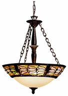 Kichler 65212 Art Glass 3 Lamp 22 Inch Diameter Tiffany Inverted Pendant Light Fixture - Bronze