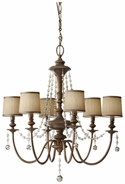 Feiss F2722-6-FG Clarissa 6 Lamp Firenze Gold Crystal Chandelier With Shades