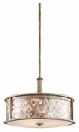 Kichler 43262DAW Hayman Bay 19 Inch Diameter Distressed Antique White Drum Pendant Light