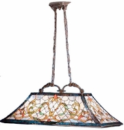 Kichler 65207 Tiffany Art Glass Creations 3 Light 36 Inch Kitchen Island Fixture in Tannery Bronze