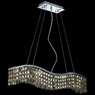 Elegant 2041D30C-GT-RC Contour Golden Teak Square Crystal Small 6-light Island Lighting