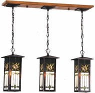 Meyda Tiffany 77994 Pasadena Rose Tiffany 3 Light Lantern Ceiling Light