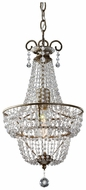 Feiss F2709-1-BUS Dutchess 18 Inch Tall Crystal Hanging Pendant - Burnished Silver
