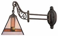 ELK 079TB01 Mission Tiffany Swing Arm Lamp