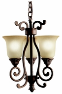 Kichler 2215TZG Larissa Bronze 3 Lamp 14 Inch Tall Traditional Pendant Lighting Fixture