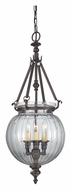 Feiss F2800/3ORB Luminary Oil Rubbed Bronze 10 Inch Diameter Round Glass Hanging Light Fixture