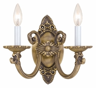 Crystorama 9112-AB Arlington 2 Candle Antique Brass Finish 11 Inch Wide Wall Light Sconce