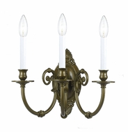 Crystorama 9113-AB Solid Cast Ornate 3 Candle Antique Brass Wall Light Fixture