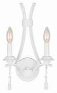 Crystorama 9352-WW Parson Transitional Wet White Finish 2 Candle Sconce Light - 15 Inches Tall