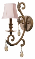 Crystorama 6901-FB-GT-MWP Royal 18 Inch Tall Traditional Florentine Bronze Sconce Lighting - Golden Teak Crystal