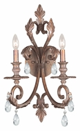 Crystorama 6902-FB-CL-MWP Royal 2 Lamp Florentine Bronze Traditional Clear Crystal Candle Sconce