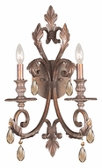Crystorama 6902-FB-GT-MWP Royal 23 Inch Tall Florentine Bronze Finish 2 Candle Wall Sconce - Golden Teak Crystal