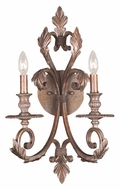Crystorama 6912-FB Royal 2 Candle 21 Inch Tall Florentine Bronze Candle Sconce Light Fixture
