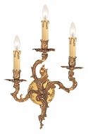 Crystorama 703-OB Oxford 3 Candle Olde Brass Finish 12 Inch Wide Traditional Wall Light