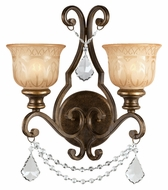 Crystorama 7502-BU-CL-MWP Norwalk 2 Lamp Clear Crystal Traditional Bronze Umber Wall Lamp