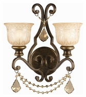 Crystorama 7502-BU-GT-MWP Norwalk Golden Teak Crystal Bronze Umber Finish 2 Lamp Sconce Light