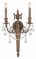 Crystorama 752-MB-CL-MWP Arlington 2 Lamp Matte Brass Finish 23 Inch Tall Traditional Sconce Light