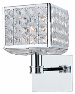 Crystorama 901-CH-CL-MWP Chelsea Polished Chrome Finish 10 Inch Tall Cube Lamp Sconce