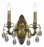 Crystorama 5562-AB-GT-MWP Dawson 2 Candle Antique Brass Finish Golden Teak Crystal Sconce Light