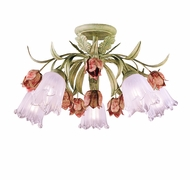 Crystorama 4800-SR Southport 22 inch rustic ceiling light in sage green and rose