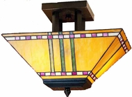 Meyda Tiffany 31243 Prairie Corn Mission Tiffany 2 Bulb Semi-Flush Mount Inverted Parasol Ceiling Light