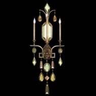 Fine Art Lamps 710450-1 Encased Gems Large 3-light Bronze Wall Sconce Lighting with Multi-Color Crystals