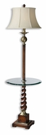 Uttermost 28568 Myron Wood Twist 64 Inch Tall Lighting Floor Lamp With 19 Inch Glass Tray
