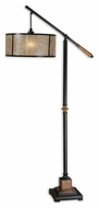 Uttermost 28584-1 Sitka Hanging Mica Drum Shade 62 Inch Tall Arc Floor Lamp Lighting